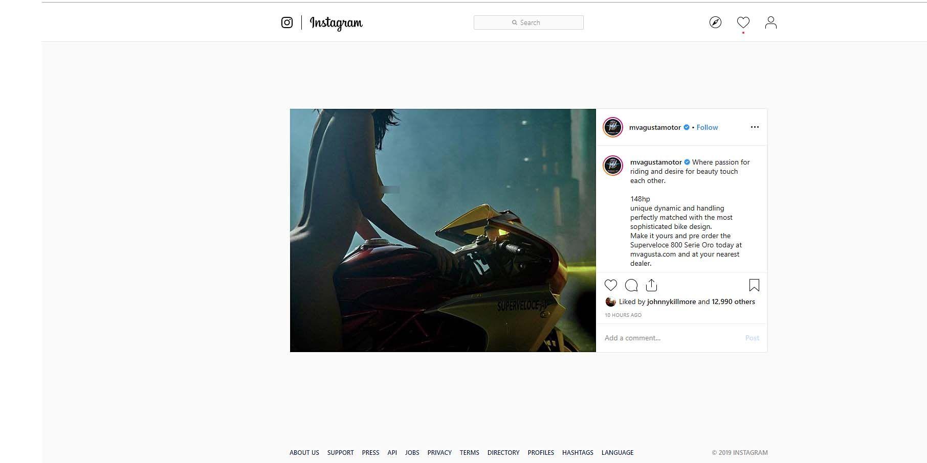 Sexist or Savvy? MV Agusta Superveloce 800 Post Lights Instagram on Fire