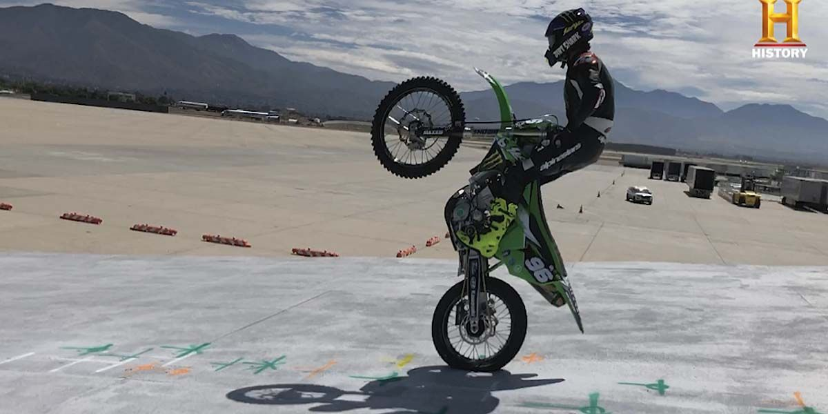 Axell Hodges Crashes Practicing World's Longest Motorcycle Jump for HISTORY'S