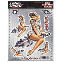 Lethal Threat Nose Art Spark Plug Pin-up Girl Decal