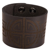 Bico Laser Etched Symmetry Leather Cuff
