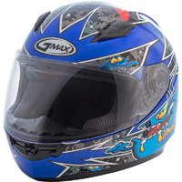 GMAX GM49Y Alien Blue Youth Full Face Helmet