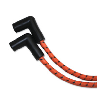 Sumax Classic Thunder Braided Cloth Spark Plug Wires Orange w/Black Tracer