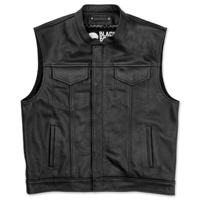 Black Brand Men's Club KoolTek Black Leather Vest