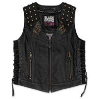 Black Brand Women's Mantra Black Leather Vest