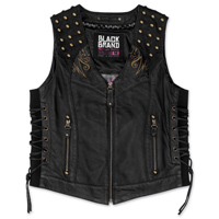 Black Brand Women's Mantra Black Leather Vest