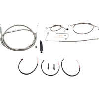 LA Choppers Stainless Complete Cable/Line/Wiring Handlebar Kit for Mini Ape Bars on Models with ABS