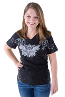 Biker Trash Women's Wings Black V-neck Top