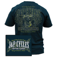 J&P Cycles® V-Twin Navy Blue Pocket Daytona T-shirt