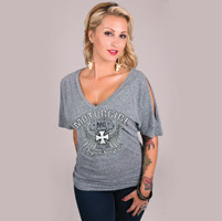 MotorCult Supercharged Gray V-Neck Raglan w/ Slit Sleeves