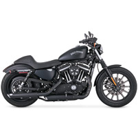 Vance & Hines Twin Slash Round Slip Ons Black