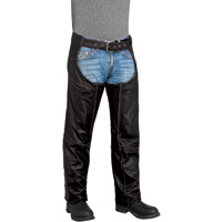 River Road Men's Rambler Black Leather Chaps