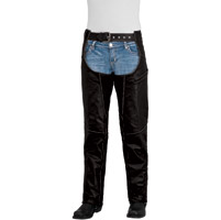 River Road Women's Rambler Black Leather Chaps