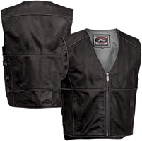 River Road Men's Rambler Black Leather Vest