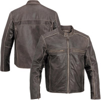 River Road Men's Drifter Brown Leather Jacket