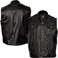 Milwaukee Motorcycle Clothing Co. Men's Jinx Black Leather Vest