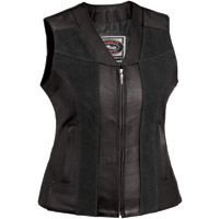 River Road Women's Santa Rosa Black Leather Vest