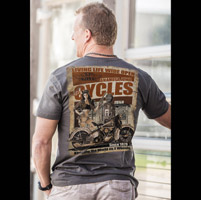 J&P Cycles® Men's Pin Up Station Charcoal Black T-shirt