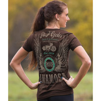 J&P Cycles® Women's Winged Classic Chocolate Brown T-shirt