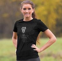 J&P Cycles® Women's Foiled Rebel Black T-shirt