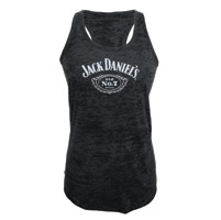 Jack Daniel's Women's Burnout Racerback Black Tank Top