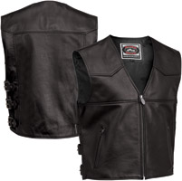 River Road Men's Plains Black Leather Vest