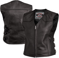 River Road Women's Plains Black Leather Vest
