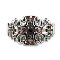 Hair Ringz Antique Silver Iron Cross w/ Onyx and Ruby Stones