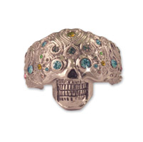 Hair Ringz Sugar Skull with Multi-color Gem Stones