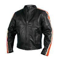 Hot Leathers Men's Leather Jacket with Arm Stripes