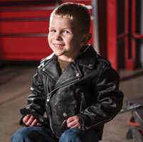 Interstate Leather Kids Black Leather Motorcycle Jacket
