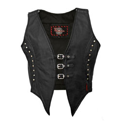 Milwaukee Motorcycle Clothing Co. Women's Illusion Black Leather Vest