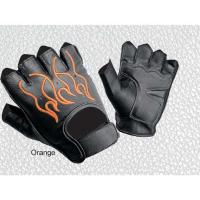 Embroidered Flames Premium Half Finger Gloves