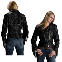 Interstate Leather Women's Madonna Fringe Black Leather Jacket
