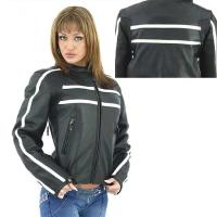 Cream Stripes Leather Jacket