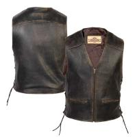 Milwaukee Motorcycle Clothing Co. Men's Crazy Horse Brown Leather Vest