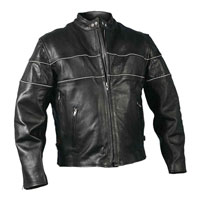 Hot Leather Men's Striped Leather Jacket