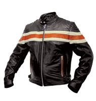 Interstate Leather Men's Scooter Jacket with Stripe