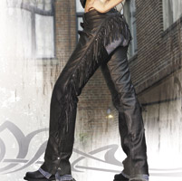 Interstate Leather Women's Maxie Fringed Black Leather Chaps