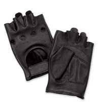 J&P Cycles® Fingerless Deerskin Gloves with Easy-Pull