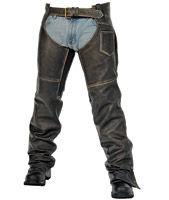 Milwaukee Motorcycle Clothing Co. Crazy Horse Unisex Brown Leather Chaps