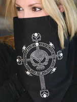 That's A Wrap Rhinestone Skull Cross Fleece Gaiter
