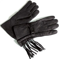 J&P Cycles® Unlined Gauntlet Deerskin Gloves with Fringe