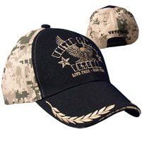 Hot Leathers US Veteran Live Free-Ride Free Embroidered Ball Cap