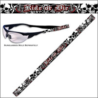 Hot Leathers Ride or Die White Skulls Sunglass Shade Holder