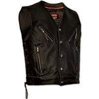 Interstate Leather Men's Gangster Distressed Black Leather Vest
