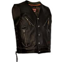 Interstate Leather Men's Gangster Distressed Black Leather Vest