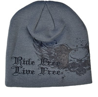 Hot Leathers Gray Ride Free Live Free Knit Cap