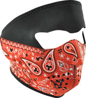 ZAN headgear Red Paisley Bandanna Neoprene Face Mask