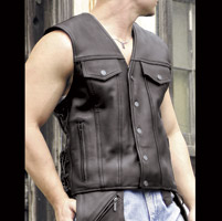 Milwaukee Motorcycle Clothing Co. Men's Gambler Black Leather Vest