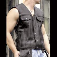 Milwaukee Motorcycle Clothing Co. Men's Gambler Black Leather Vest